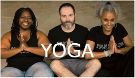 3 diverse yogins with prayer pose hands