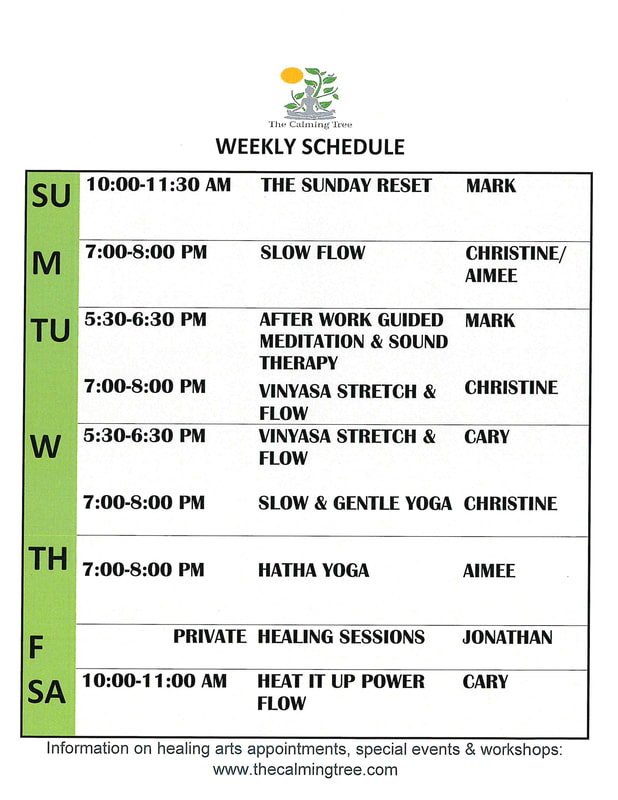 Calming Tree Weekly Schedule